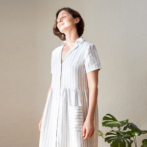 Jane — Gathered Shirt Dress With Notched Collar Pattern