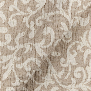IL002 100% Linen fabric IVORY-NATURAL - SCROLLS
