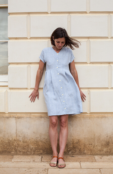 Button Down Linen Pleated Dress