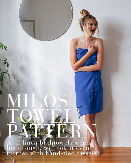 Milos  — Linen Bath Towel Pattern
