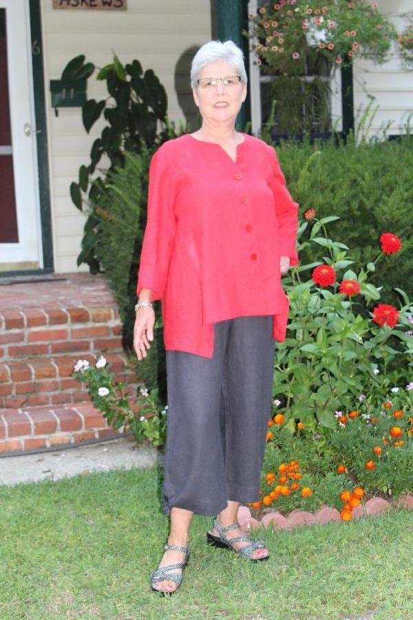 Red Linen Top with Gray Linen Capri Pants:  Shirt buttons down the front and capri pants sport a...