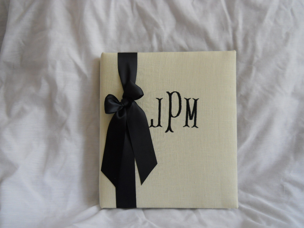 bone linen monogrammed wedding book available at; https://www.waycooldesigns.com...