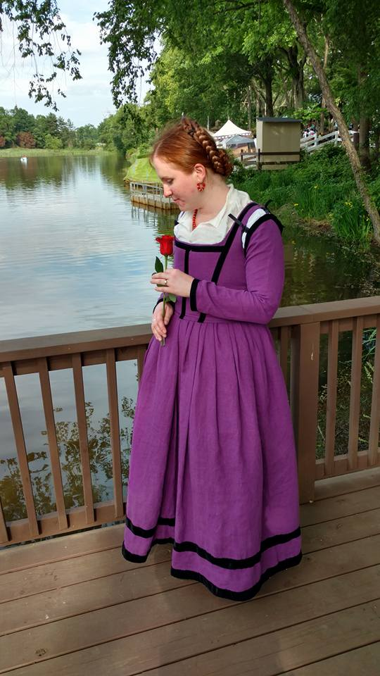 A renaissance gown of purple linen done in the Florentine Style. The purple is all linen and it ...