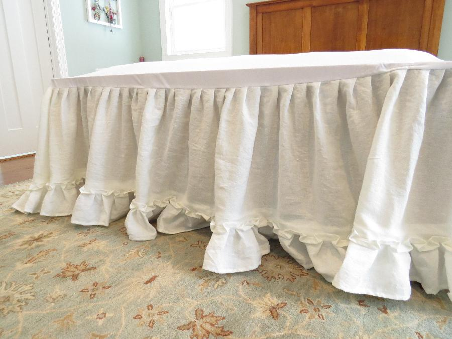 Double ruffle dust ruffle with bleached and softened linen.  Getting ready to do a matching duve...