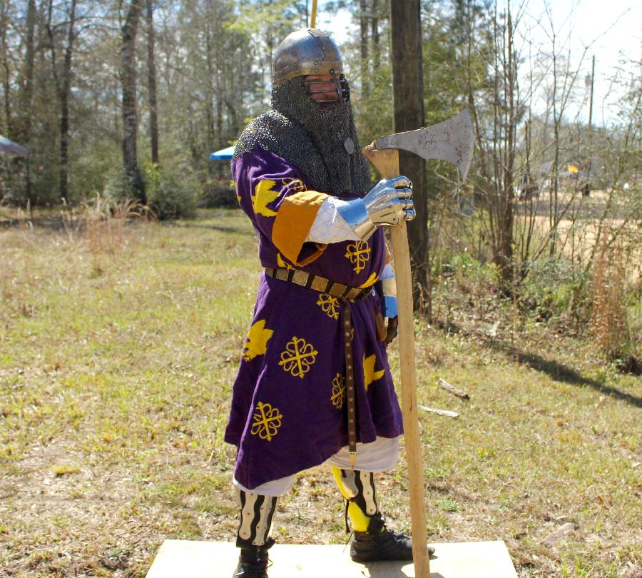 Stenciled fighting tunic.  4C22 in royal purple...