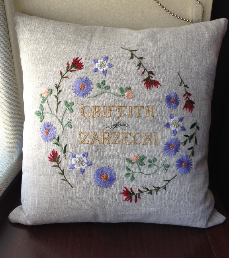 I embroidered this wreath of wildflowers as a wedding gift for my cousin, using cotton and silk ...