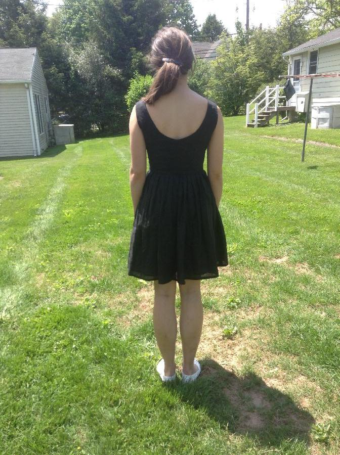 Little black dress - trial run for my daughters wedding dress - pleated waist - fully lined with...