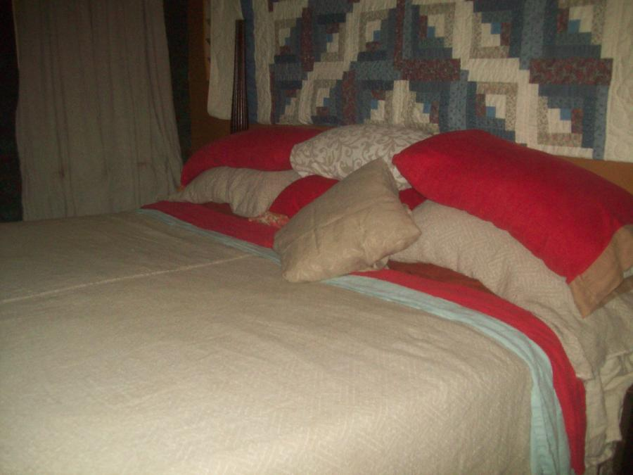 My cozy retreat from the world! Sheets in meadow and red 019, coverlet and shams in tetras jacqu...