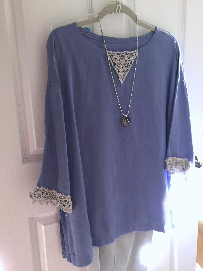 Linen tunic with handmade crochet lace at cuffs and neckline.  Made with IL019 in Wisteria....