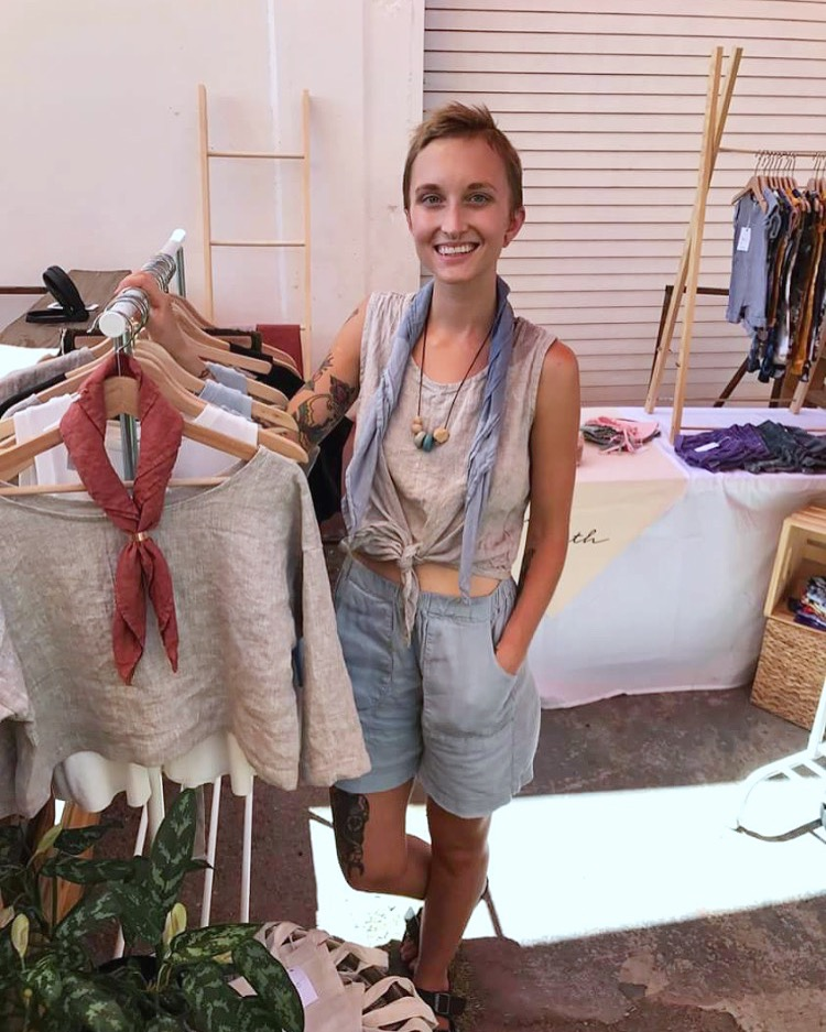 All handmade outfit, IL019 Meadow shorts, IL019 Mix Natural tie front top, Bandana scarf is IL02...