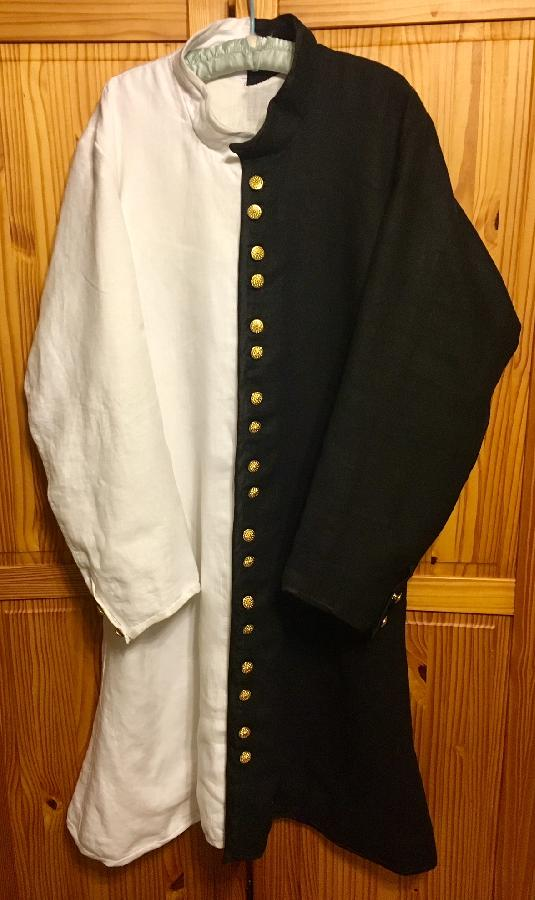 15th century parti-colored cotehardie.  It is made with 2 layers IL19 (black & white) linen, lin...
