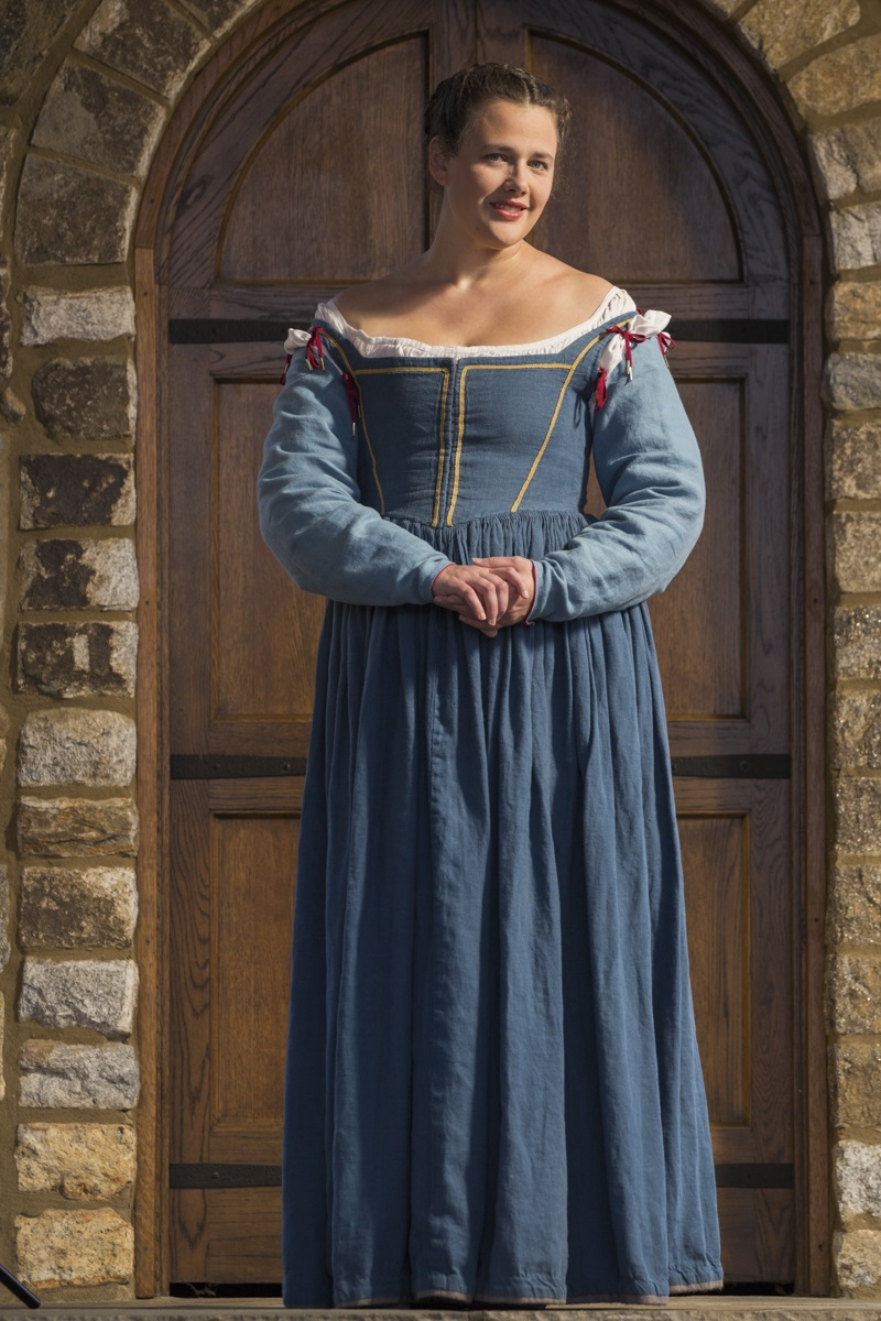 Italian dress inspired by the art of the 1570's .  Dress is made from IL019 Blue Bonnet while th...