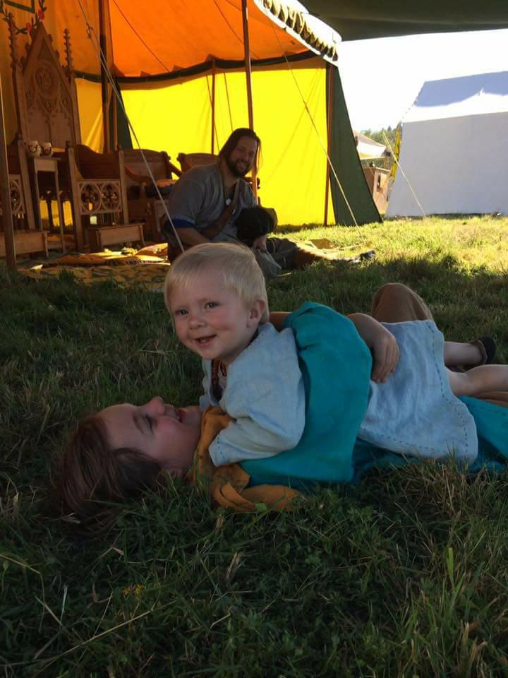 Viking brothers having fun. my sons playing while camping this summer. older sons hood is Autumn...