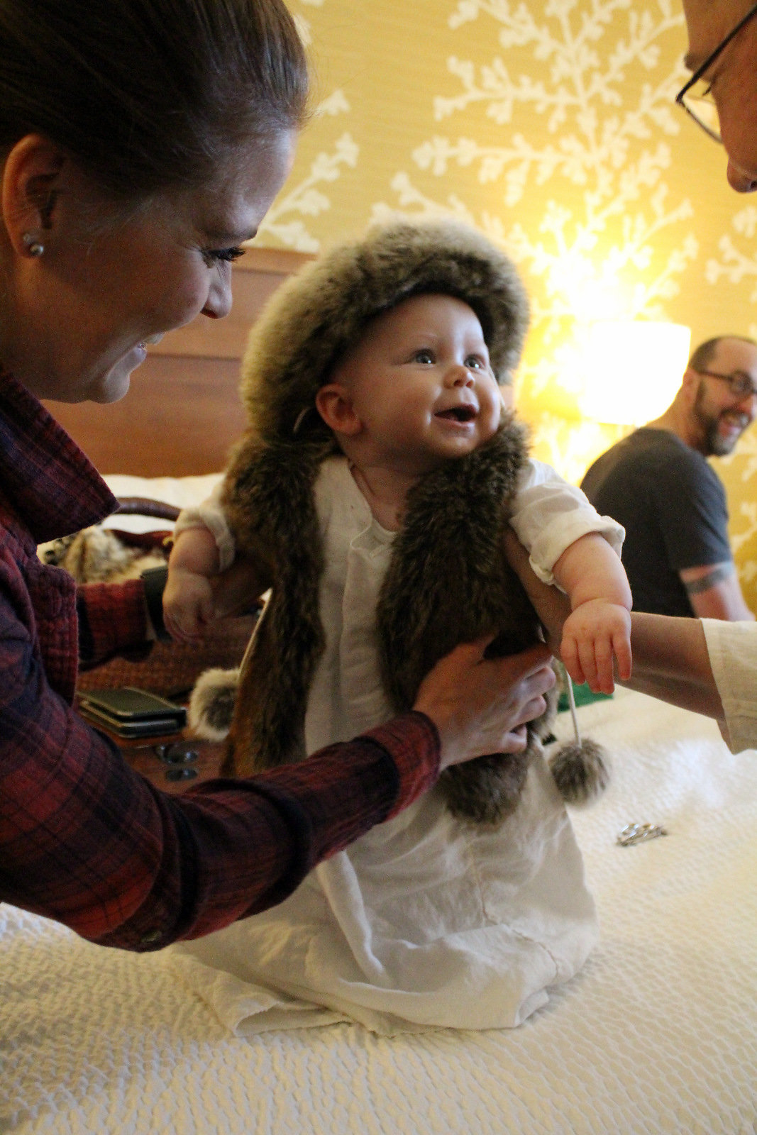 This is my grandson Connor, I make his tunic using 100% bleach linen. He was too cute at our wed...