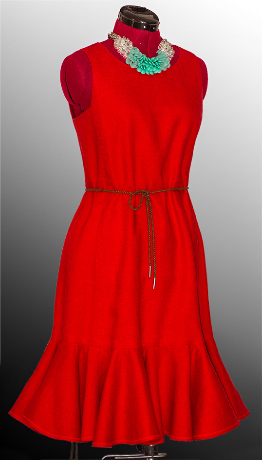 Red dress made with handkerchief linen. It is fully   lined, has a back zipper and a double-laye...