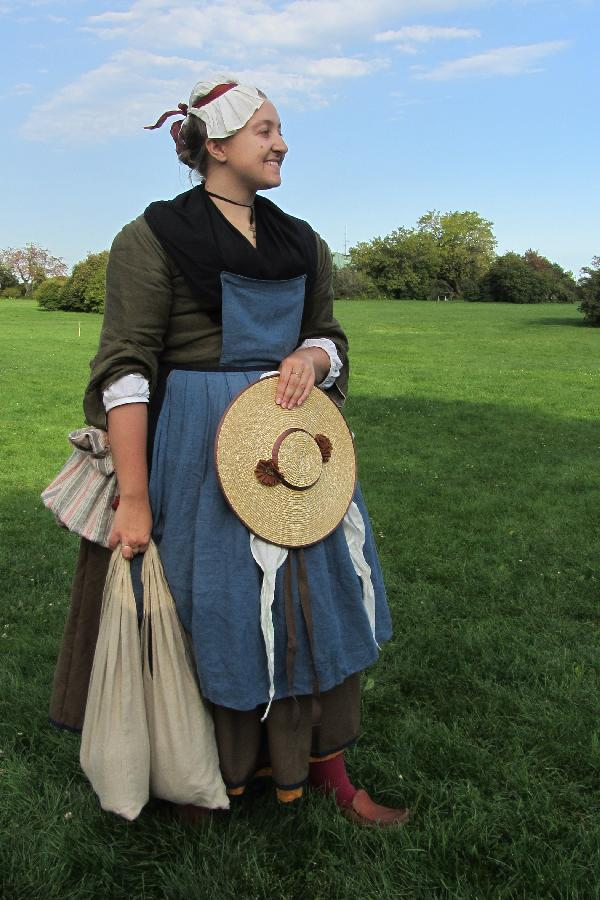 My all hand sewn interpretation of a 1740s French-Canadian. I am wearing a mantelet (jacket) of ...
