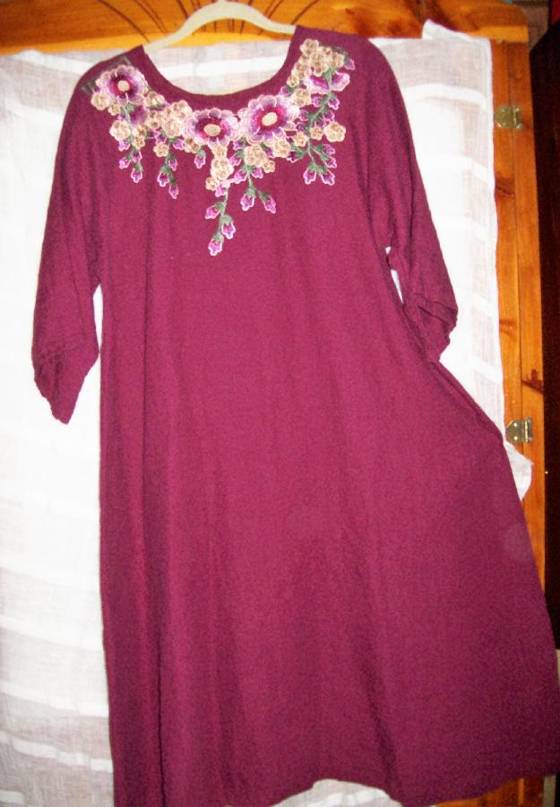 Maxi dress for fall and winter made with heavier weight wild cherry and a pre-made embroidery co...