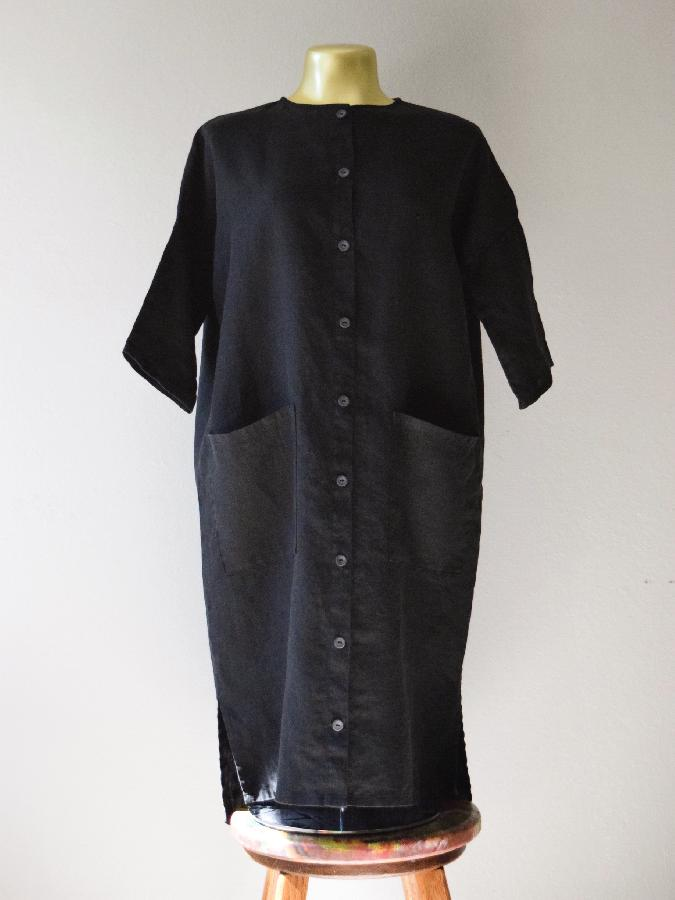 Button-up dress / jacket made with medium weight black linen + slate gray buttons. 