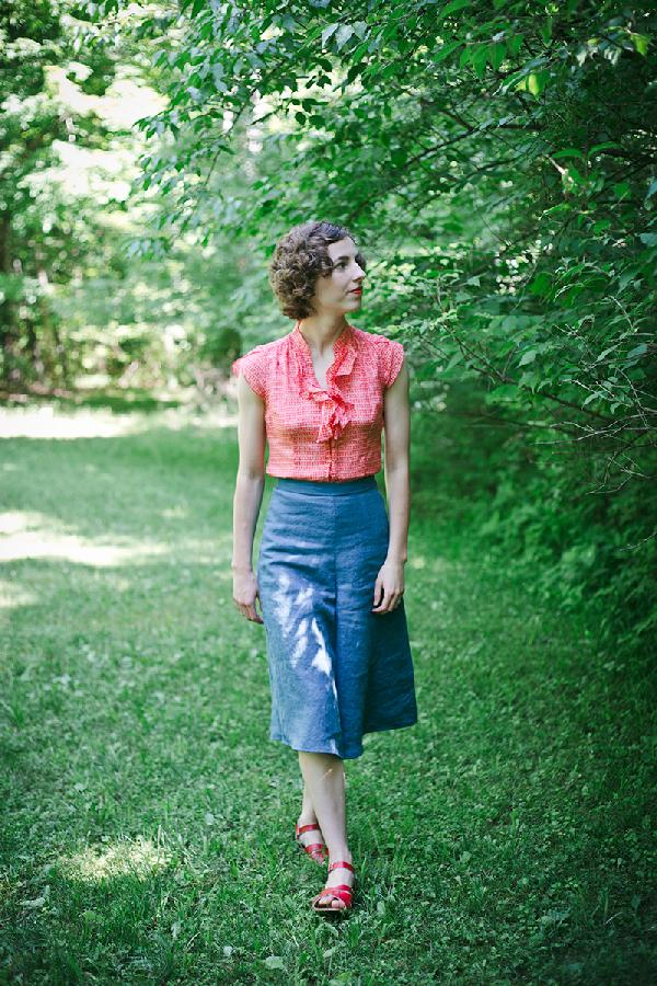 Culottes made from ILO19 in Blue Bonnet, from my self drafted Linden Lady Palazzo pants pattern....