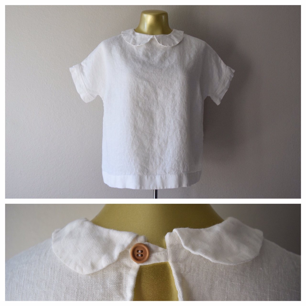 Top made w bleached heavy weight - cuffs + collar made w medium weight to reduce bulk. Bust dart...