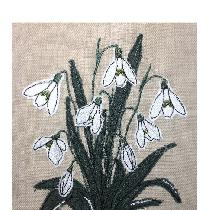 SNOWDROPS - raw edge applique designed and stitched by me using doggie bag linen pieces...
