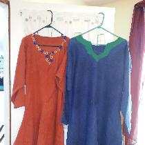 Two Bocksten Man tunics, both in recycled Linen....