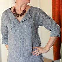 Liesl and Co. Weekend Getaway Tunic/Dress Pattern in Yarn Dye Linen in handkerchief weight IL022...