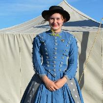 This is an historically accurate 1860s dress I have hand-made. It is entirely 100% linen, even d...
