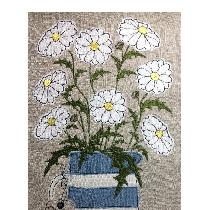 DAISIES - raw edge applique designed and stitched by me using doggie bag linen pieces...