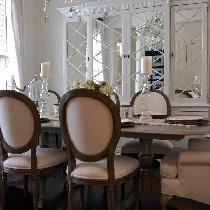 Dinning room finished with 100% white linen fabric....