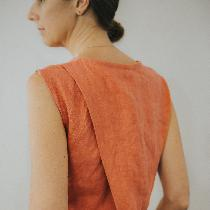 My design - the Anna Top in orange sold on mamaosa.co made of 100% linen.  ...