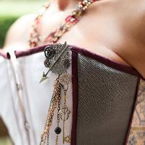 Custom wedding corset and skirt with handmade adornments....