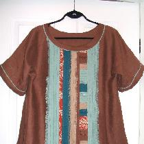 Another 'scrap buster' project, middle weight linen in fall colors and some linen print scraps, ...