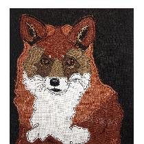 MR SLY the FOX - raw edge applique designed and stitched by myself using doggie bag linen pieces...