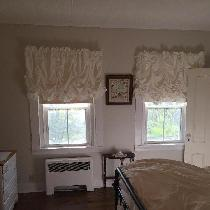 Bleached White 4c22 Linen Vienna Curtains with Ruffle Bottom Detail - perfect fabric and color f...