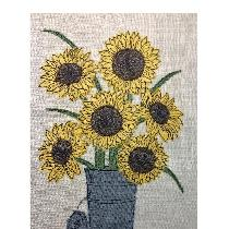 SUNFLOWERS - raw edge applique designed and stitched by me using doggie bag linen scraps...