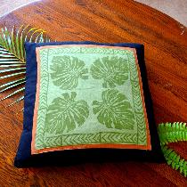 Hand printed monsteria leaf  linen cushion cover from hand carved wooden stamps ....