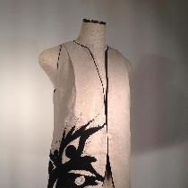 """Linen vest with butterfly appliqué and free form machine stitching. All edges finished with bl..."