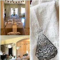 For my daughter's bridal shower I made linen napkins and embroidered linen fingertip towels. The...