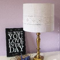 This lampshade is worked in traditional-style Hardanger embroidery, using linen thread on linen ...