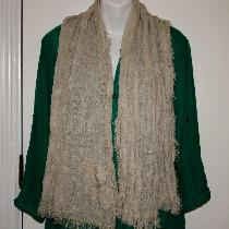 Simple to do project made with light linen.  Scarf has decorative embroidered edging with frayed...