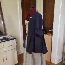 Compleatly hand sewn short saque back gown with gray petticoat.  All linen.  This look is a repr...