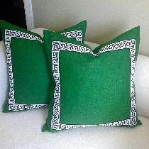 Custom emerald green pillow accented with black and white greek key trim! ...