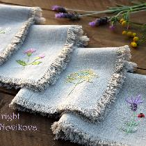 rustic linen... simple weeds and flowers - I think it perfect combination :-) I hand embroidered...