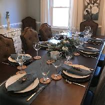 Bayou Blue Table Runner and Napkins for Thanksgiving Table...