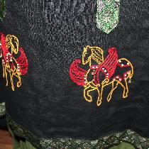 embroidery close up on Byzantine dress...