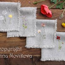 Meadow flowers and beautiful weeds - all hand embroidered on natural linen, additionally I fraye...