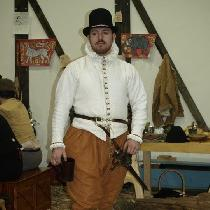 Handsewn Late Elizabethan outfit.  White linen canvas doublet (lined and interlined for more lin...