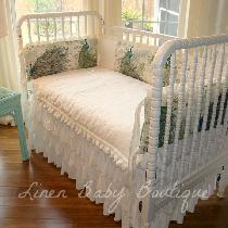 This is another view of the Peacock Linen crib set....