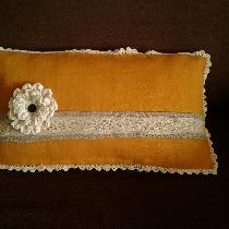 Fancy statement pillow - Medium weight autumn gold w/ natural linen, with antique heirloom lace ...